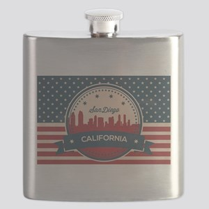 Retro San Diego Skyline Flask