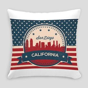 Retro San Diego Skyline Everyday Pillow