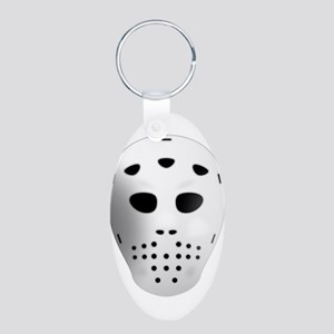 Hockey Mask Aluminum Oval Keychain