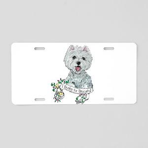 Westie Dog Biscuit Aluminum License Plate