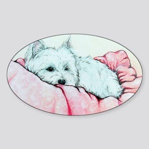 Sleepy Westie Sticker (Oval)
