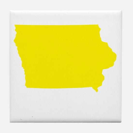 Yellow Iowa Tile Coaster