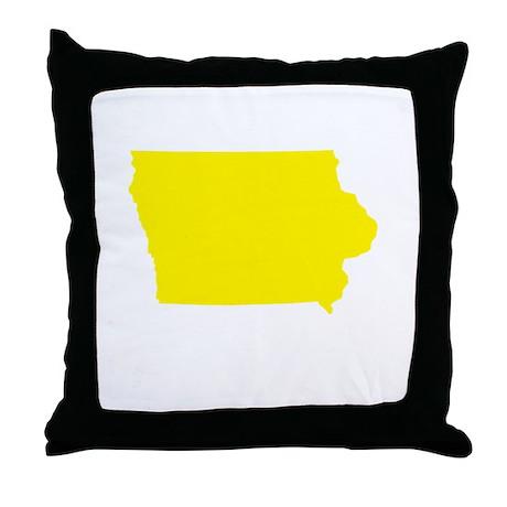 Yellow Iowa Throw Pillow