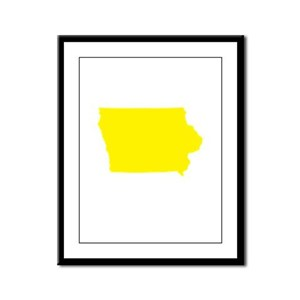 Yellow Iowa Framed Panel Print