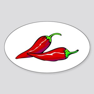 Red Hot Peppers Sticker (Oval)