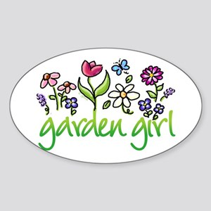 Garden Girl 2 Oval Sticker