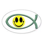Jesus Is My Happiness Oval Sticker