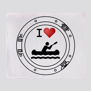 I Heart Kayaks Throw Blanket