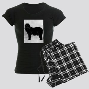 Bearded Collie Silhouette Women's Dark Pajamas