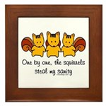 One by one, the squirrels Framed Tile