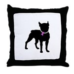 Boston Terrier Breast Cancer Support Throw Pillow