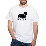 Bulldog Breast Cancer Support White T-Shirt