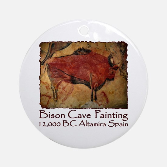 Bison Cave Painting Petroglyph Ornament (Round)
