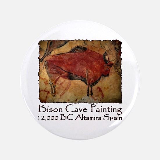 "Bison Cave Painting Petroglyph 3.5"" Button"