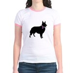 Collie Breast Cancer Support Jr. Ringer T-Shirt