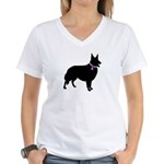 Collie Breast Cancer Support Women's V-Neck T-Shir