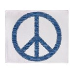 Blue Peace Sign Throw Blanket