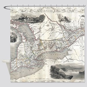 Vintage Map of Ontario Canada (1850 Shower Curtain