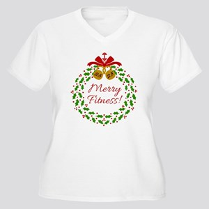Merry Fitness Wreath Plus Size T-Shirt