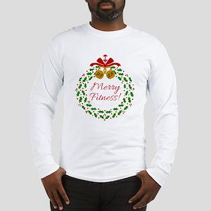 Merry Fitness Wreath Long Sleeve T-Shirt