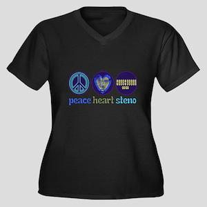 PEACE HEART STENO Women's Plus Size V-Neck Dark T-