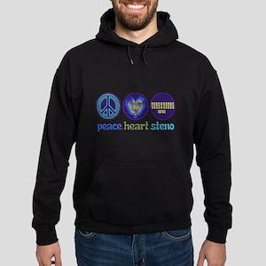 PEACE HEART STENO Hoodie (dark)