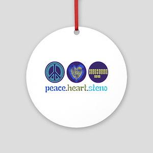 PEACE HEART STENO Ornament (Round)