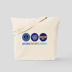 PEACE HEART STENO Tote Bag