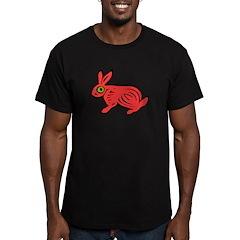 Red Rabbit Men's Fitted T-Shirt (dark)
