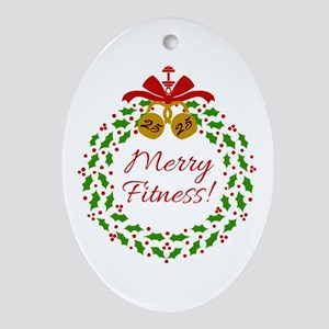 Merry Fitness Wreath Oval Ornament