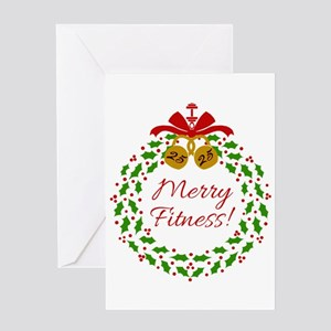 merry fitness wreath greeting cards - Deluxe Christmas Cards