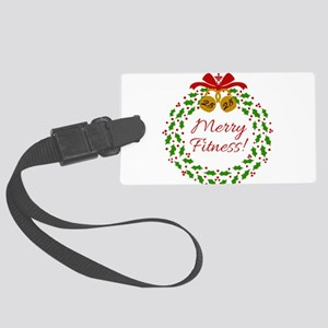 Merry Fitness Wreath Large Luggage Tag