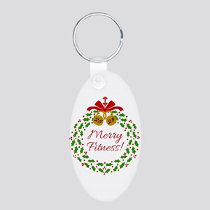 Merry Fitness Wreath Keychains