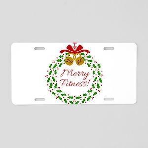 Merry Fitness Wreath Aluminum License Plate