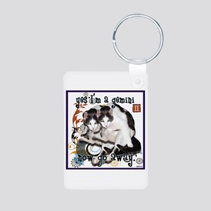 Cat Gemini Aluminum Photo Keychain