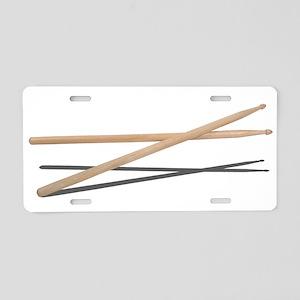 Crossed Drum Sticks Aluminum License Plate
