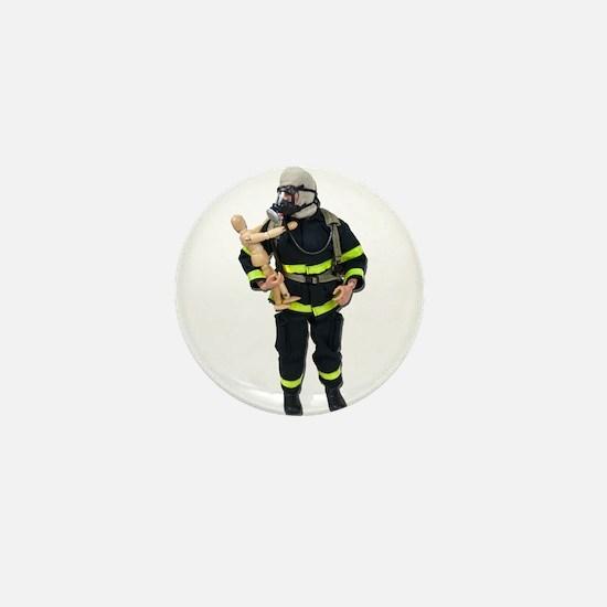 Fireman Holding Child Mini Button