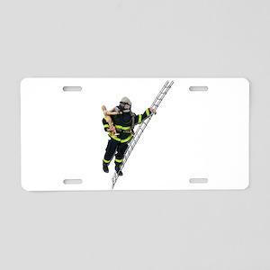 Fireman Rescuing Child Aluminum License Plate