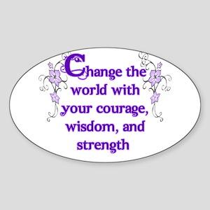 Courage, Wisdom and Strength Sticker (Oval)
