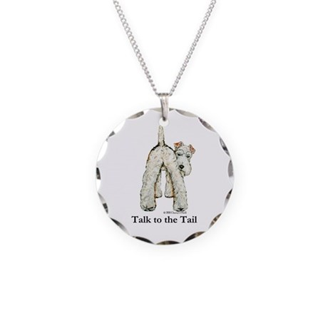 Wire Fox Terrier Tail WFT Necklace Circle Charm