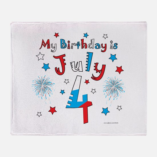 July 4th Birthday Red, White, Blue Throw Blanket