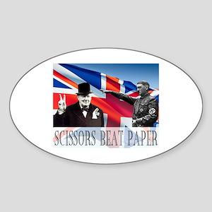 Scissors Beat Paper Sticker (Oval)