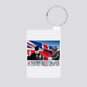 Scissors Beat Paper Aluminum Photo Keychain