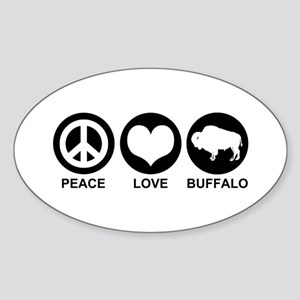 Peace Love Buffalo Sticker (Oval)