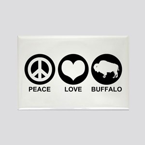 Peace Love Buffalo Rectangle Magnet