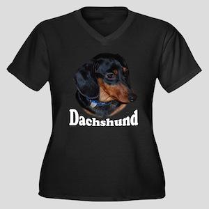 Dachshund Women's Plus Size V-Neck Dark T-Shirt