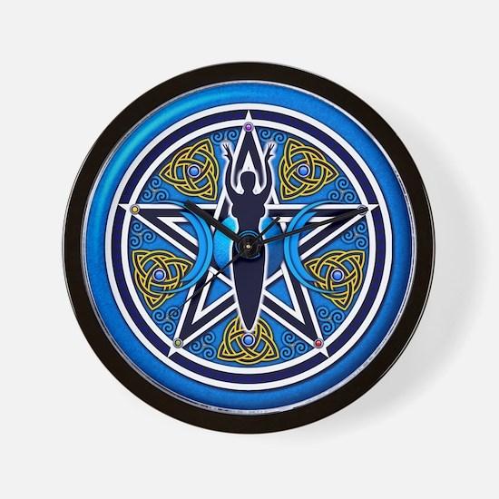 Blue-Gold Goddess Pentacle Wall Clock