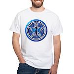 Blue-Silver Goddess Pentacle White T-Shirt