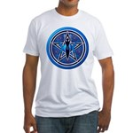Blue-Silver Goddess Pentacle Fitted T-Shirt