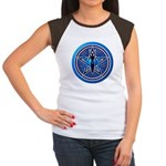 Blue-Silver Goddess Pentacle Women's Cap Sleeve T-